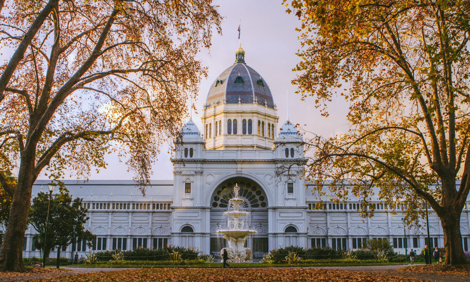 Royal exhibition building in autumn
